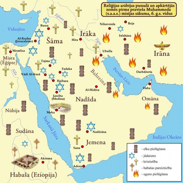 Aptuvena reliģisko uzskatu karte, kuri valdīja Arābijas pussalā uz pravietojuma sākuma brīdi