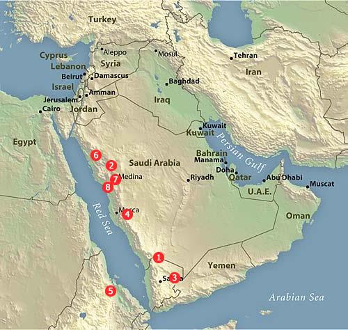 Arābijas pussalas karte ar fotogalerijā pieminētām vietām`