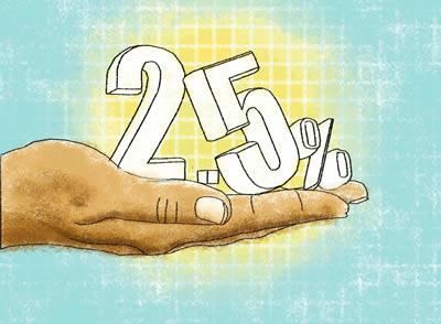 2.5% gadā no tūrīgajiem priekš nabagajiem - vienīgais nodoklis Šariātā